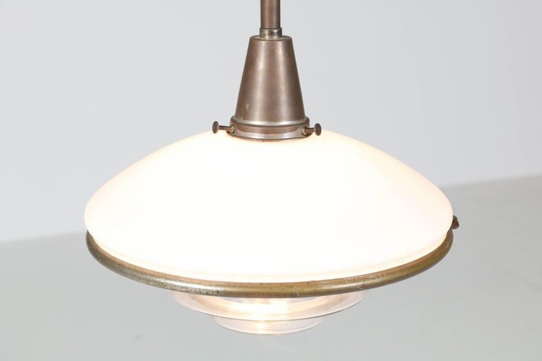 German Bauhaus Brass and Opaline Pendant Lamp by Otto Müller for Sistrah Licht, 1930s For Sale