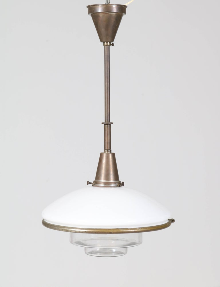 Bauhaus Brass and Opaline Pendant Lamp by Otto Müller for Sistrah Licht, 1930s In Good Condition For Sale In Amsterdam, NL
