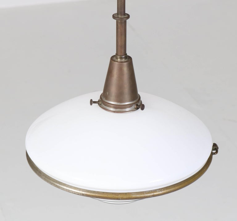 Bauhaus Brass and Opaline Pendant Lamp by Otto Müller for Sistrah Licht, 1930s For Sale 4