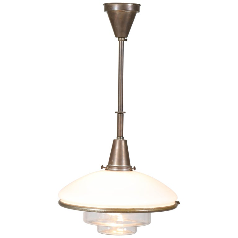 Bauhaus Brass and Opaline Pendant Lamp by Otto Müller for Sistrah Licht, 1930s For Sale