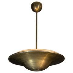 Bauhaus Brass Chandelier with Indirect Light, 1930s
