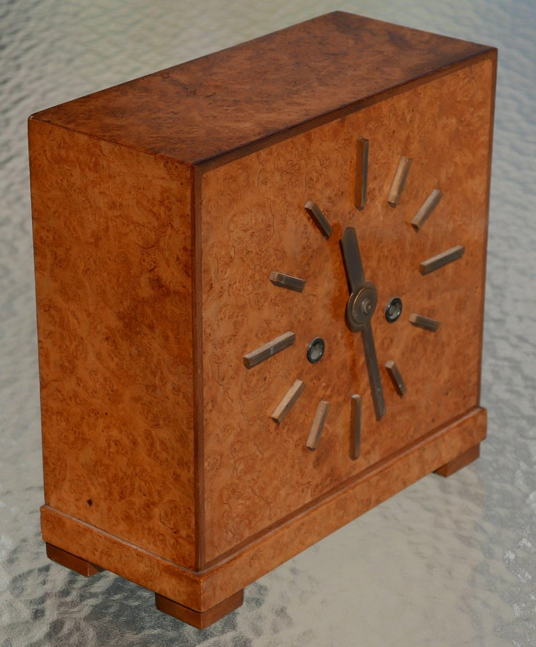 Lacquered Bauhaus Burl and Brass Mantle Clock, circa 1930s For Sale