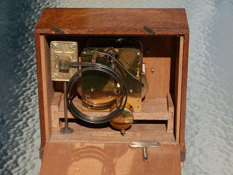 Mid-20th Century Bauhaus Burl and Brass Mantle Clock, circa 1930s For Sale