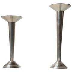 Bauhaus Candlesticks in Steel, Germany, 1930s