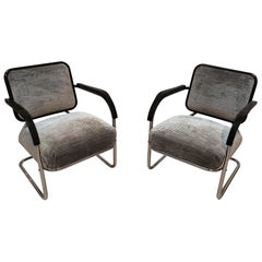 Bauhaus Cantilever Steeltube Chair, Nickel, Black, Velvet, Germany, circa 1930