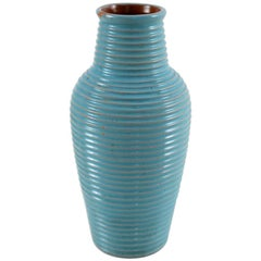 Bauhaus Ceramic Vase with Grooves Decor and Glaze in Cyan Tone, Germany, 1930