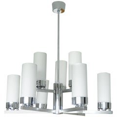 Bauhaus Chandelier Chrome with Nine White Tubular Glass Shades