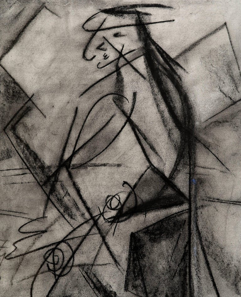 Fabulous Bauhaus charcoal figural drawing on paper circa 1945 by Louis Atlas (1918-1966) found in a period distressed frame. He was a former student of Hans Hofmann.   Signed L. Atlas  NY 45. Great scale! Image size is 23.50 inches high by 17.25