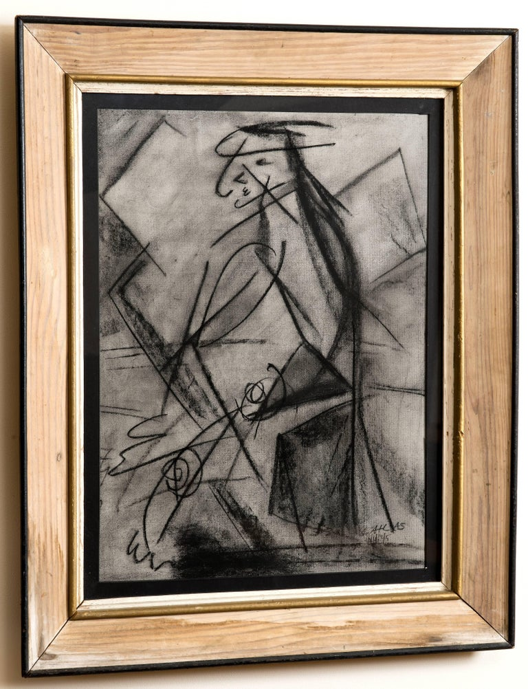 Mid-20th Century Charcoal Figural Drawing circa 1945 by Louis Atlas For Sale