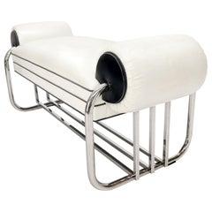 Bauhaus Chrome Bent Tube Black and White Upholstery Bench