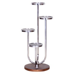 Bauhaus Chrome Flower Pedestal by Jindrich Halabala - UP Zavody, Walnut, 1930s