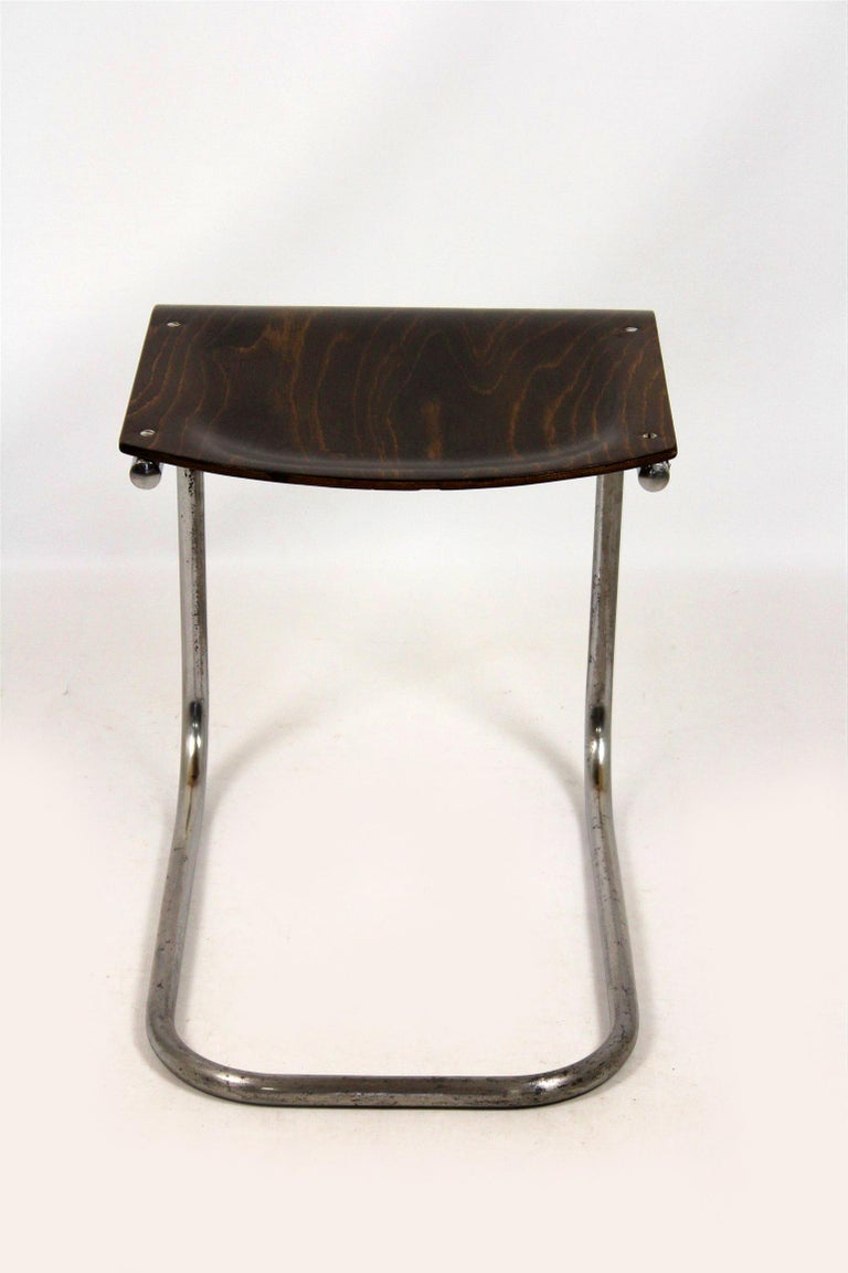 Bauhaus Chrome Picollo Stool by Mart Stam for Mücke-Melder, 1930s For Sale 6