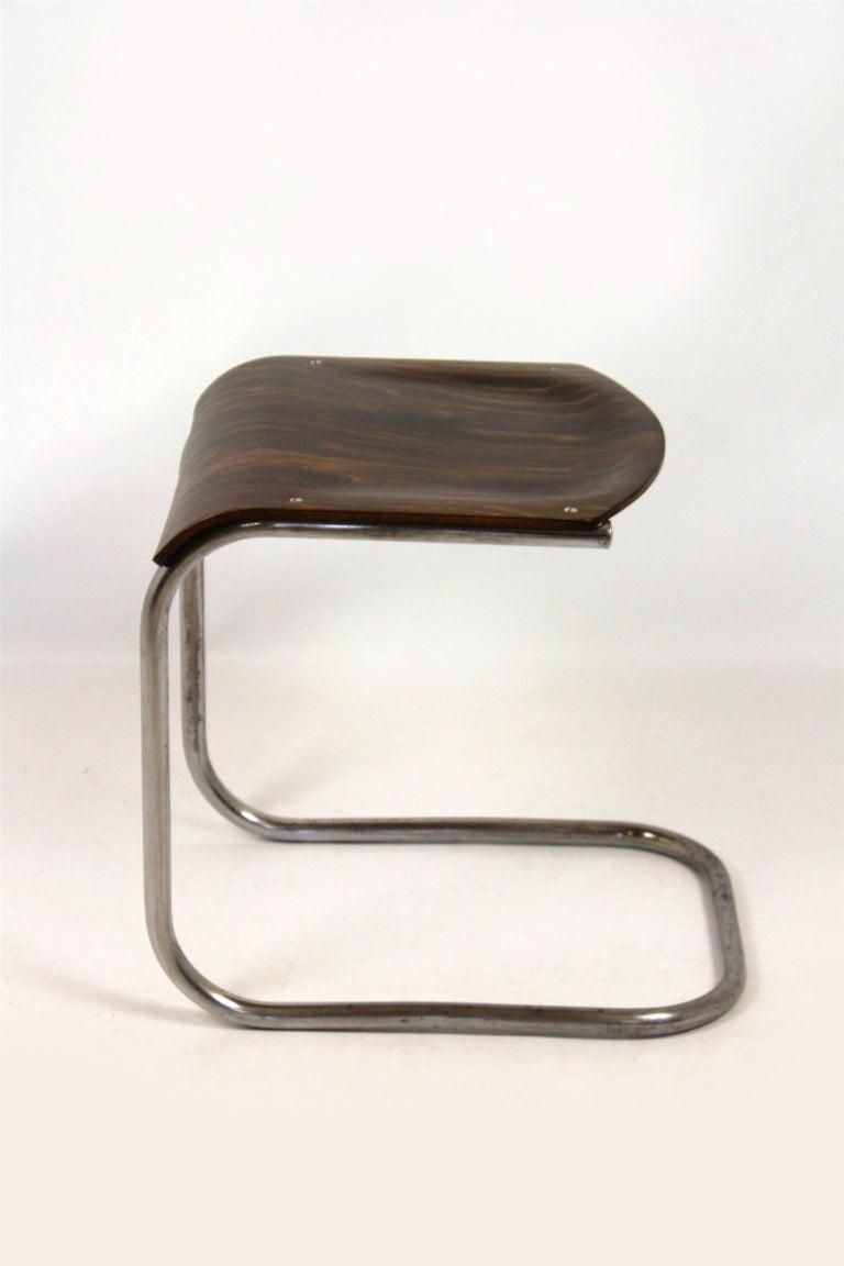 Czech Bauhaus Chrome Picollo Stool by Mart Stam for Mücke-Melder, 1930s For Sale