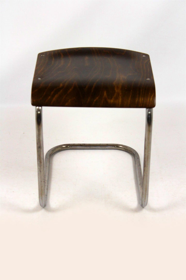 Bauhaus Chrome Picollo Stool by Mart Stam for Mücke-Melder, 1930s In Good Condition For Sale In Zory, PL