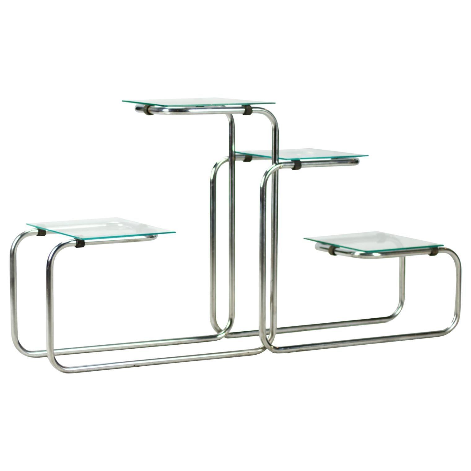 Bauhaus Chrome-Plated Tubular Steel Étagère / Flower Stand, 1930s