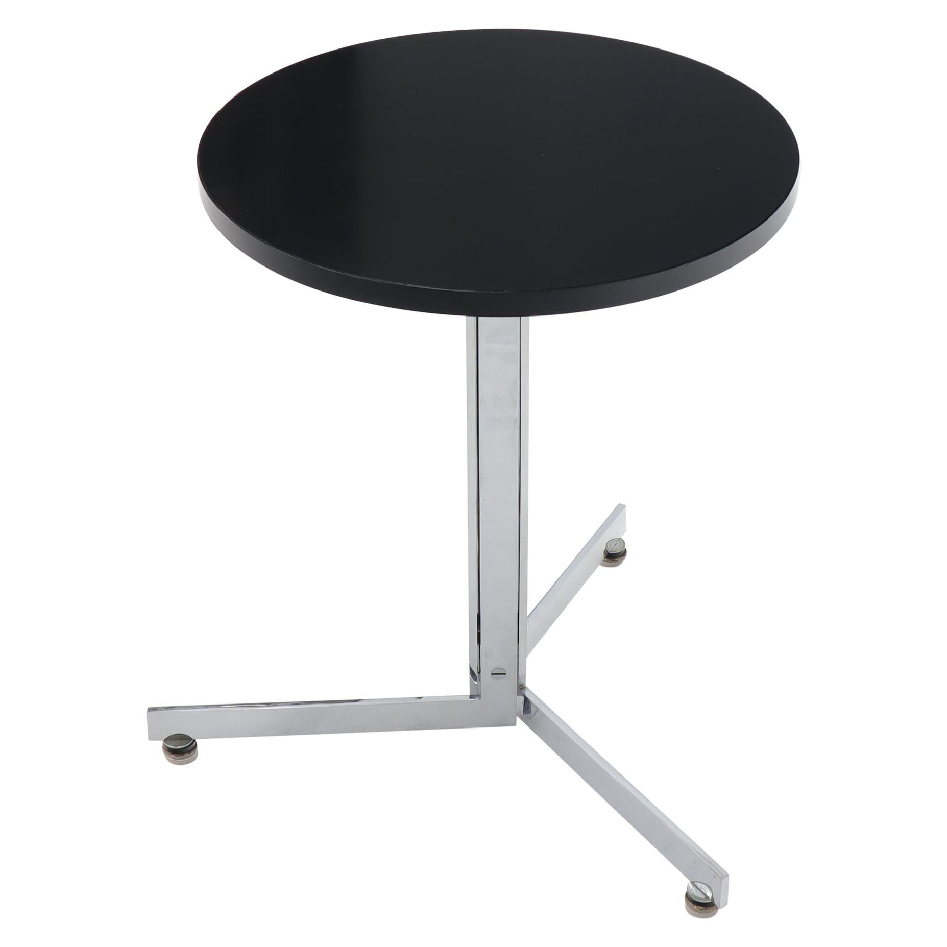 Bauhaus Chrome Triangle Base Legs Black Ebonized Round Top End Side Table