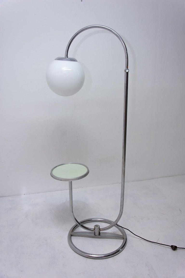 Bauhaus Chromed Floor Lamp by Robert Slezak, 1930s, Bohemia For Sale 7