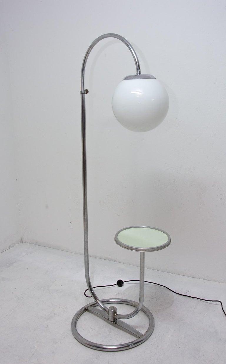 Mid-20th Century Bauhaus Chromed Floor Lamp by Robert Slezak, 1930s, Bohemia For Sale