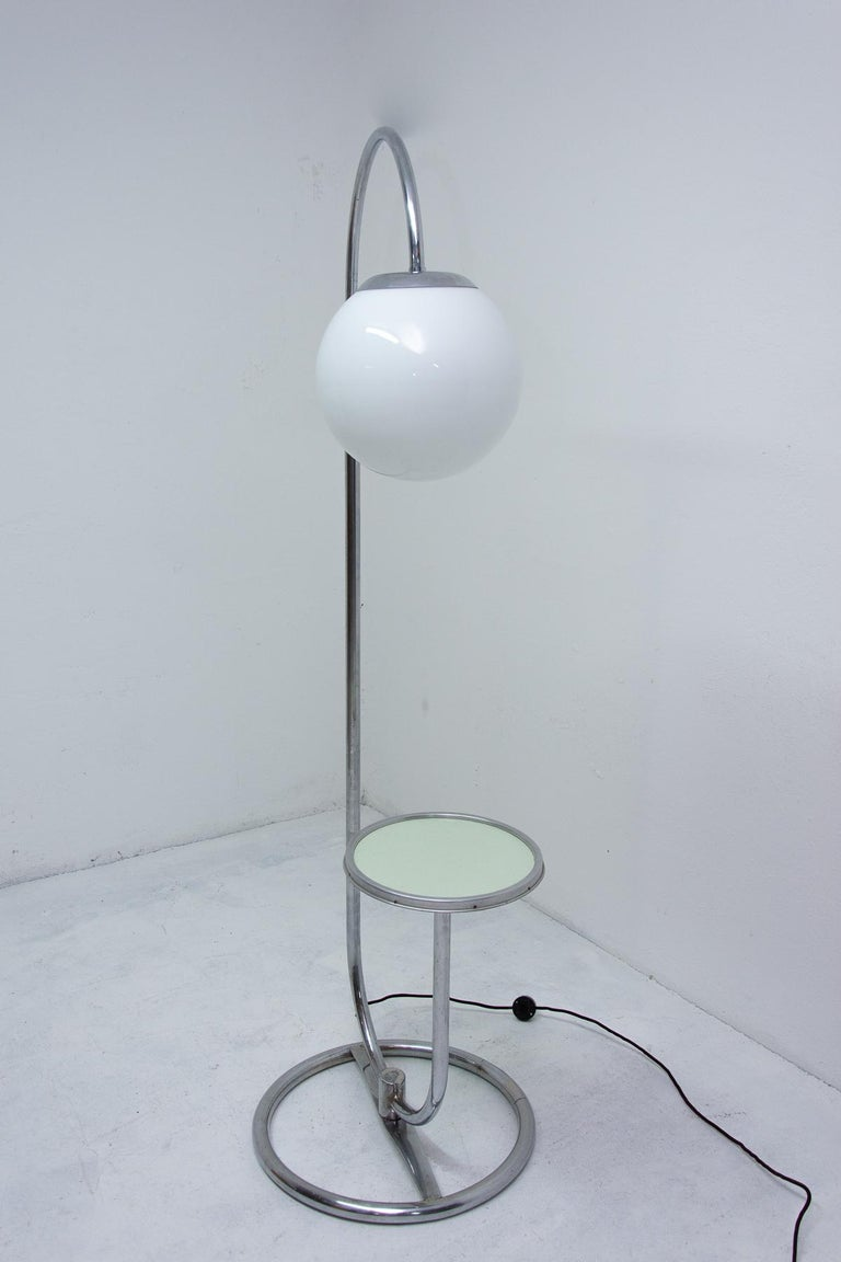 Bauhaus Chromed Floor Lamp by Robert Slezak, 1930s, Bohemia For Sale 1