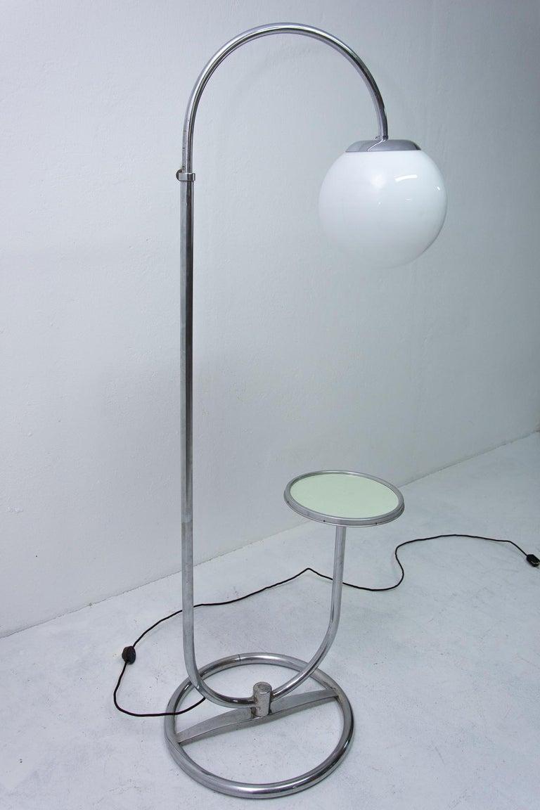 Bauhaus Chromed Floor Lamp by Robert Slezak, 1930s, Bohemia For Sale 2