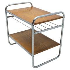 Bauhaus Chromed Side Table in Oak, 1930´s, Czechoslovakia