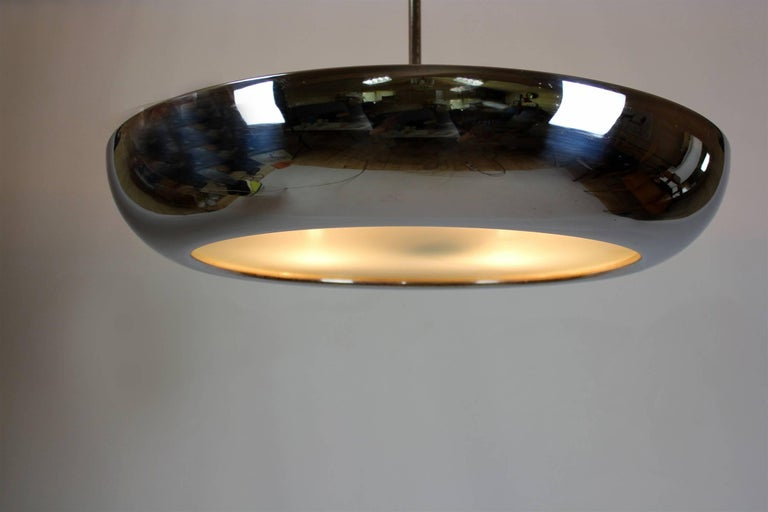 Bauhaus Chromed UFO Pendant Lamp by Josef Hurka for Napako, 1930s For Sale 7