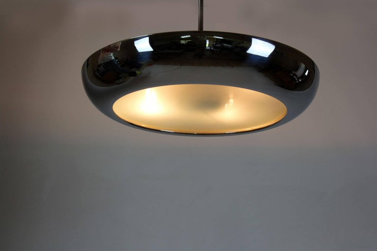 Bauhaus Chromed UFO Pendant Lamp by Josef Hurka for Napako, 1930s For Sale 9