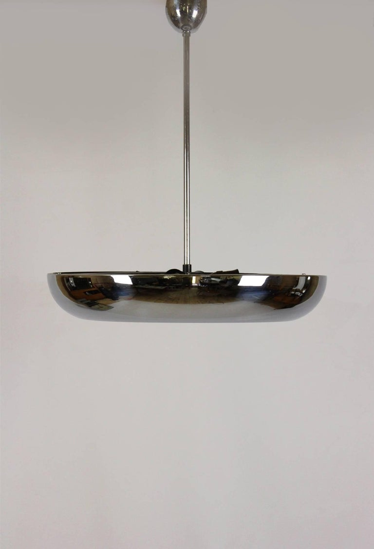 Bauhaus UFO pendant lamp designed by Josef Hurka for Napako and produced in the 1930s.