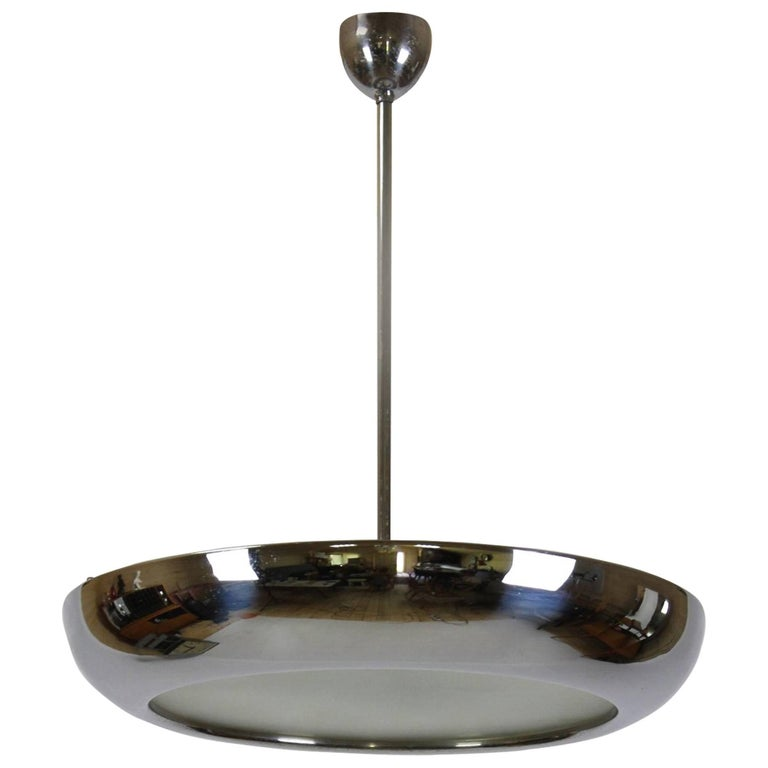 Bauhaus Chromed UFO Pendant Lamp by Josef Hurka for Napako, 1930s For Sale