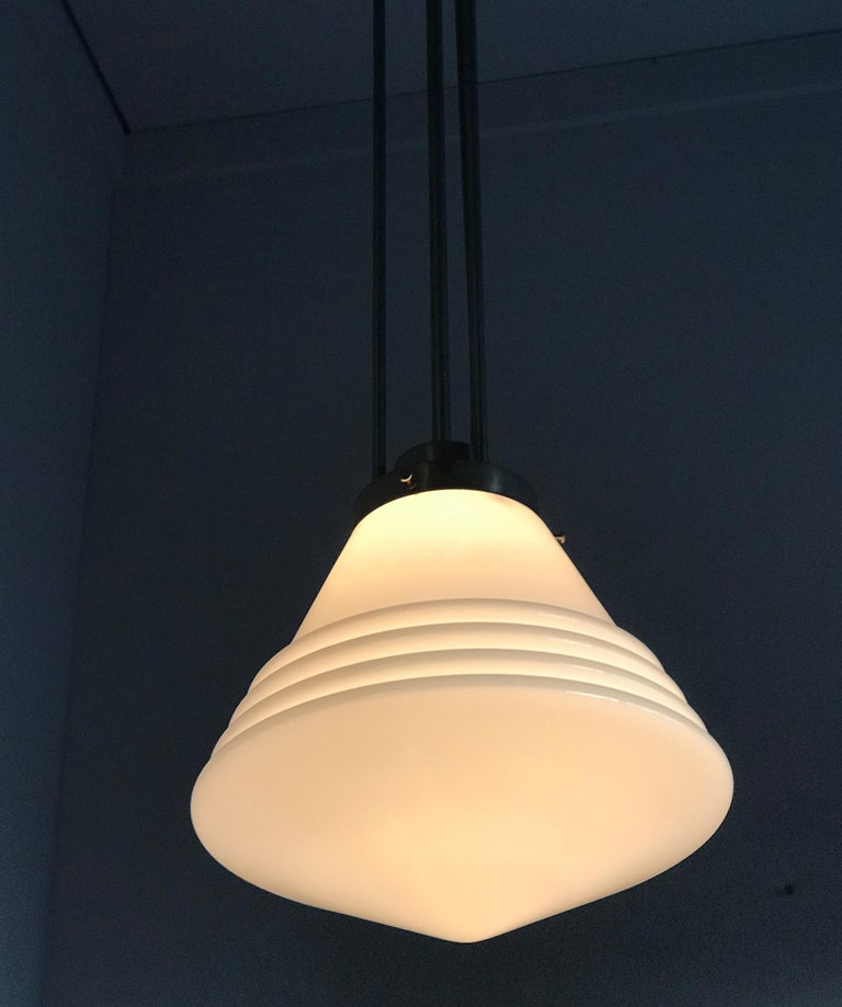 Bauhaus Design and Art Deco Style Chrome and Opaline Glass Pendant Light For Sale 4
