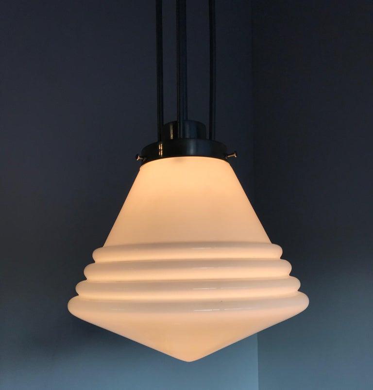 Dutch Bauhaus Design and Art Deco Style Chrome and Opaline Glass Pendant Light For Sale