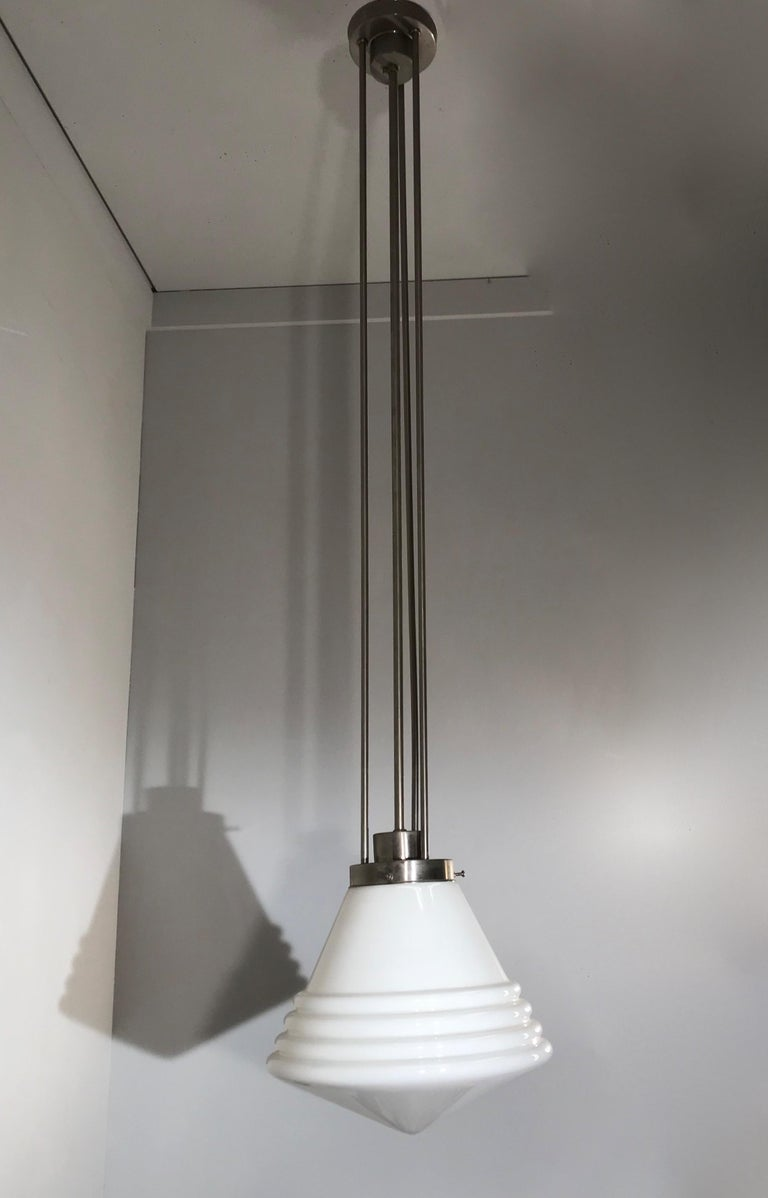 Bauhaus Design and Art Deco Style Chrome and Opaline Glass Pendant Light In Good Condition For Sale In Lisse, NL