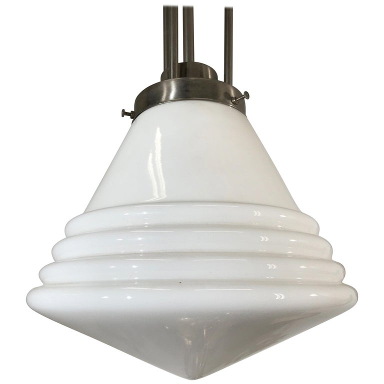 Bauhaus Design and Art Deco Style Chrome and Opaline Glass Pendant Light For Sale