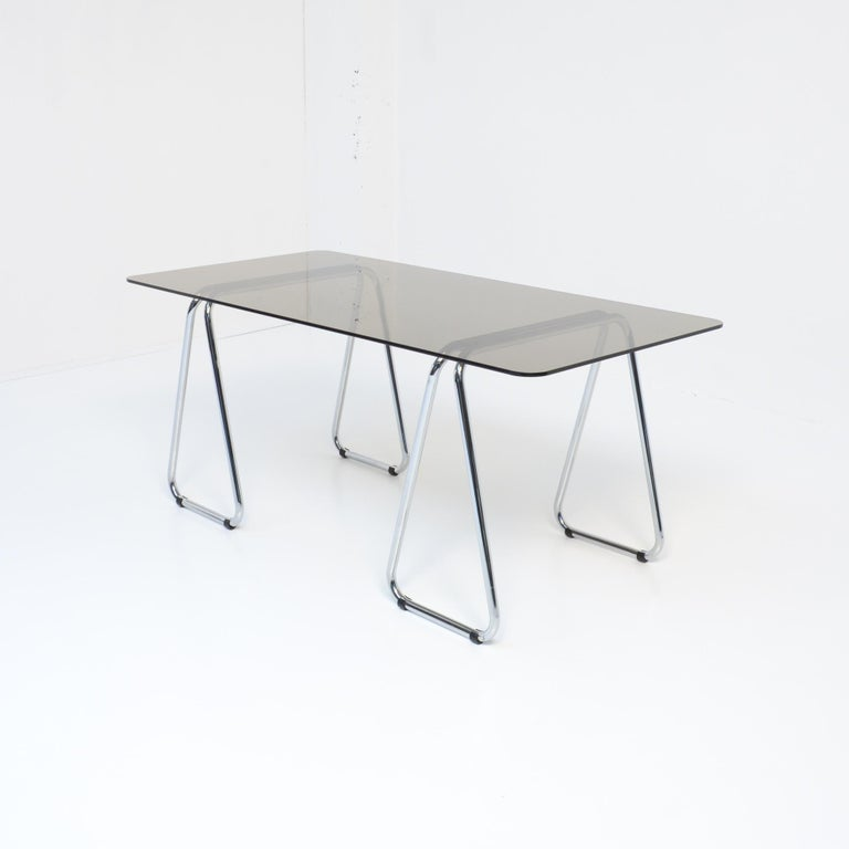 Smoked Glass Bauhaus Desk and Cesca Chair by Marcel Breuer for Gavina