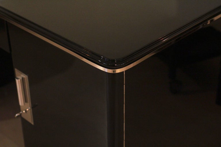 Bauhaus Desk, Black Lacquer and Chrome, Germany, circa 1930 For Sale 5