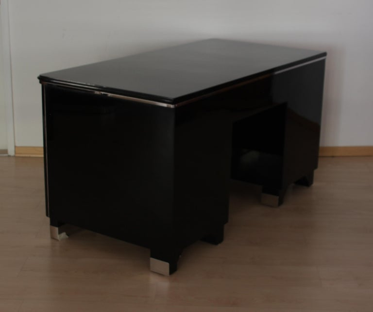 Metal Bauhaus Desk, Black Lacquer and Chrome, Germany, circa 1930 For Sale