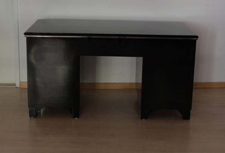 Bauhaus Desk, Black Lacquer and Chrome, Germany, circa 1930 For Sale 1