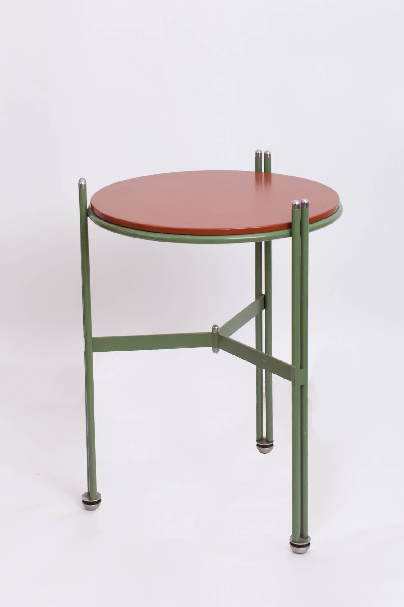 Mid Century Modern Bauhaus Enameled And Leather Side Tables In Green And  Red, Germany