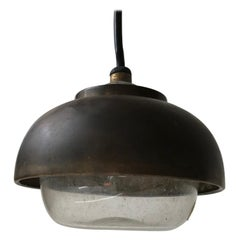 Bauhaus Era Nautical Brass and Glass Hanging Lamp, 1930s