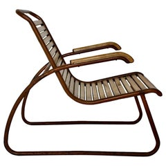 Bauhaus Era Vintage Beech Metal Lounge Chair or Armchair circa 1920 Germany