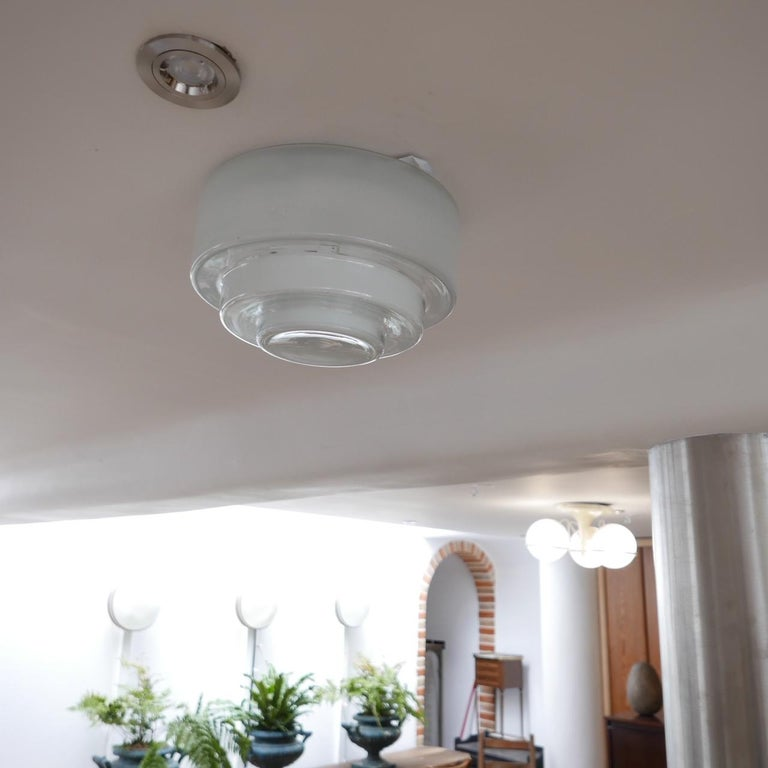 Glass Bauhaus Flush Ceiling Light by Otto Muller for Sistrah from Germany