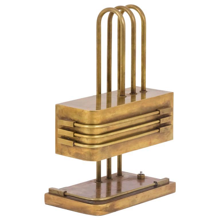 Bauhaus gilt-brass lamp, 1920s, offered by Jean-Luc Ferrand