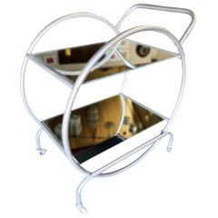 Bauhaus Inspired Art Deco Chrome Tubular Bar Cart
