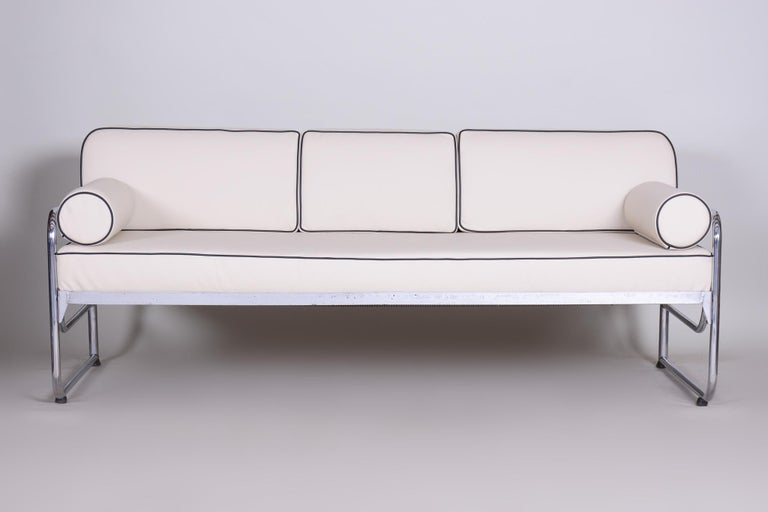 Bauhaus Ivory Tubular Chrom Sofa, Mücke-Melder, 1930s, High Quality Leather In Good Condition For Sale In Prague 1, CZ
