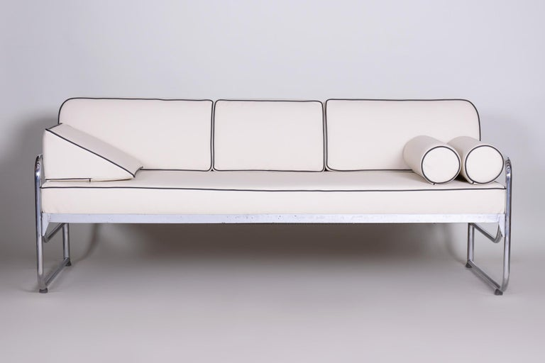 20th Century Bauhaus Ivory Tubular Chrom Sofa, Mücke-Melder, 1930s, High Quality Leather For Sale
