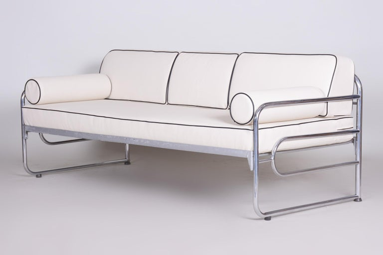 Bauhaus Ivory Tubular Chrom Sofa, Mücke-Melder, 1930s, High Quality Leather For Sale 1