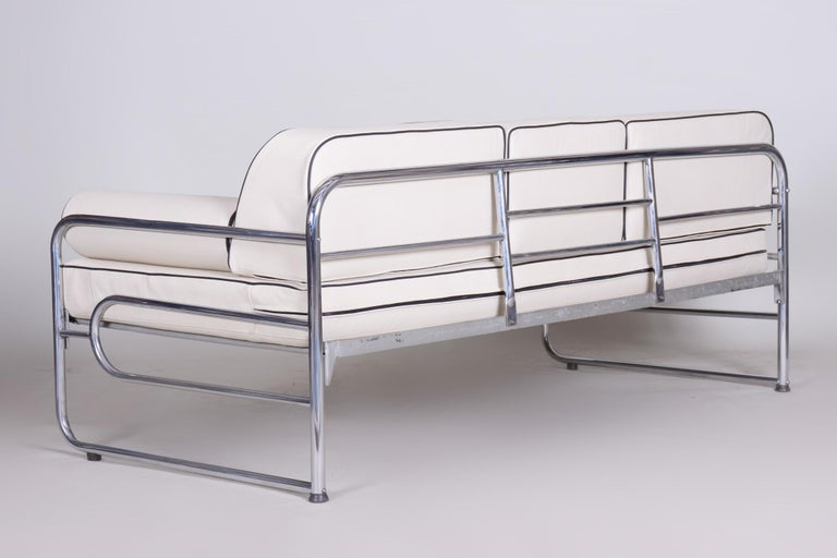 Bauhaus Ivory Tubular Chrom Sofa, Mücke-Melder, 1930s, High Quality Leather For Sale 2