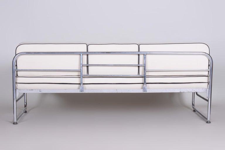Bauhaus Ivory Tubular Chrom Sofa, Mücke-Melder, 1930s, High Quality Leather For Sale 3