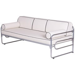 Bauhaus Ivory Tubular Chrom Sofa, Mücke-Melder, 1930s, High Quality Leather