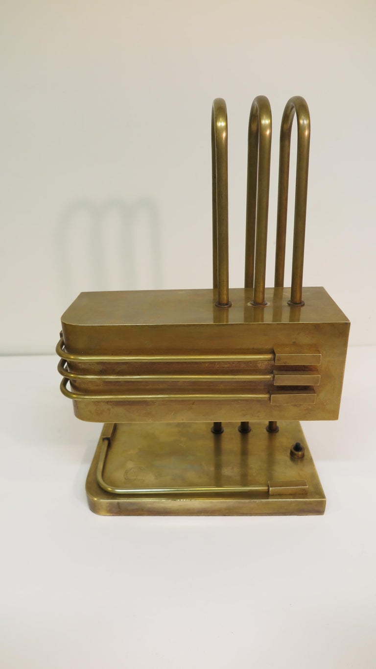 Authentic rare Bauhaus Lamps of Bauhaus Weimar Staaches, (Bauhaus Weimar School Germany). Brass Architectural Desk Lamp by Bauhaus Weimar School Germany. Excellent example of Bauhaus exceptional design and craftsmanship. Bearing engraved Bauhaus